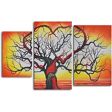 My Art Outlet 'The Love of Trees' 3 Piece Original Painting on Wrapped Canvas Set