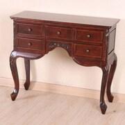 International Caravan Windsor Queen Ann Carved Wood 5-Drawer Hall Table