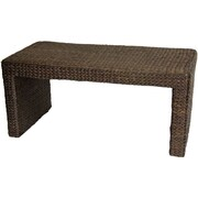 Oriental Furniture Rush Grass Coffee Table; Red Brown
