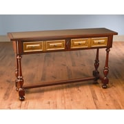 AA Importing Console Table; Distressed Antique Red and Gold