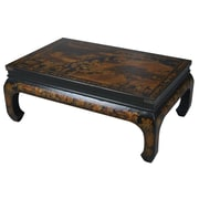 EXP D cor Handmade Oriental Antique Style Black Bonded Leather Heirloom Mandarin Coffee Table