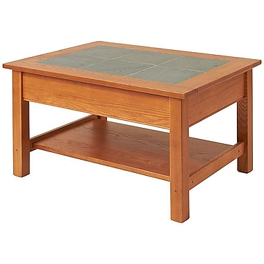 Manchester Wood Coffee Table w/ Shelf; Golden Oak
