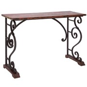 Woodland Imports Vintage Cabinet Metal Wood Console Table