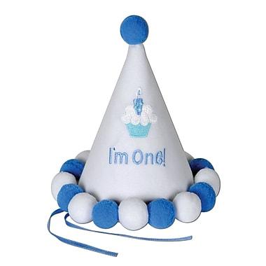 Chapeau de fête bleu en forme de cône pour 1er anniversaire de bébé, 61/2 po, paq./1