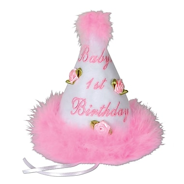 Pink Baby's 1st Birthday Cone Hat, 61/2