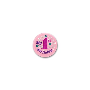 Pink My 1st Birthday Satin Button, 2