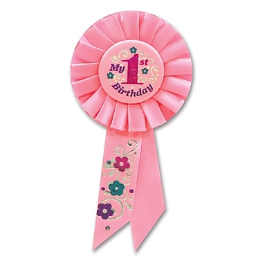 Rosette My 1st Birthday pour fille, 3 1/4 x 6 1/2 po, paq./3