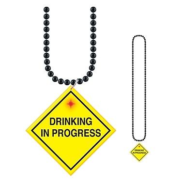 Collier de perles avec médaillon Drinking In Progress, 33 po, paq./4