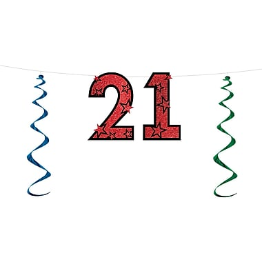 Banderole « 21 » scintillante, 15 po x 7 pi, paq./3