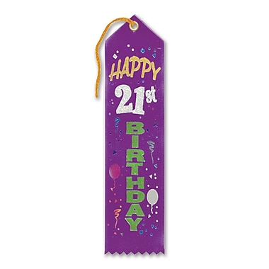 Biestle 2in. x 8in. Happy 21st Birthday Award Ribbon, Purple, 9/Pack