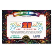 Beistle 5 x 7 21 and Terrific Certificate, 6/Pack