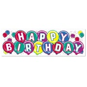 "Beistle 5' 3"" x 21"" Happy Birthday Sign Banner, 3/Pack"