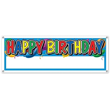 Happy Birthday Sign Banner, 5' x 21