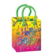 "Beistle 2 1/2"" x 3 1/4"" x 1 3/4"" Birthday Mini Gift Bag Party Favors, 28/Pack"