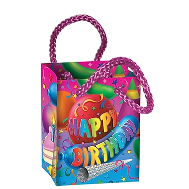 Multi-Coloured Birthday Mini Gift Bag Party Favours, 2-1/2