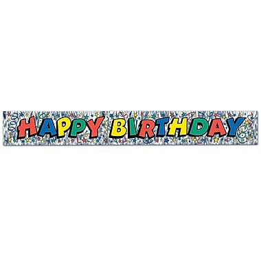 Metallic Happy Birthday Fringe Banner, 8