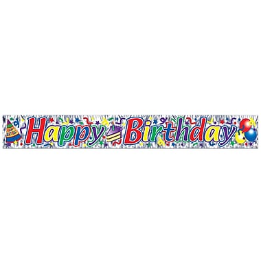 Metallic Happy Birthday Cake Fringe Banner, 8