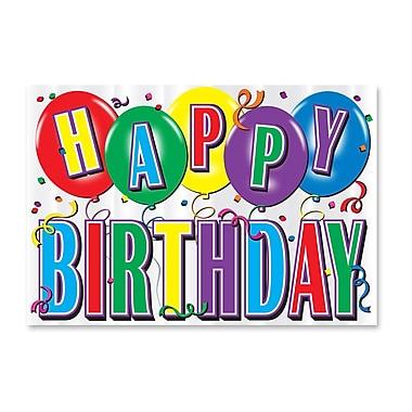 Affiche d'anniversaire très brillante en aluminium avec imprimé, 12 x 17 1/2 po, paq./5