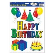 """Beistle 12"""" x 17"""" Birthday Party Clings, 42/Pack"""
