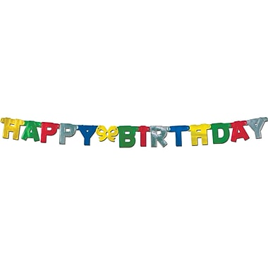 Multi-Colour Foil Happy Birthday Streamer, 8-1/4