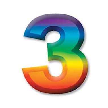 Chiffre « 3 » 3D en plastique multicolore, 11 po, paq./8