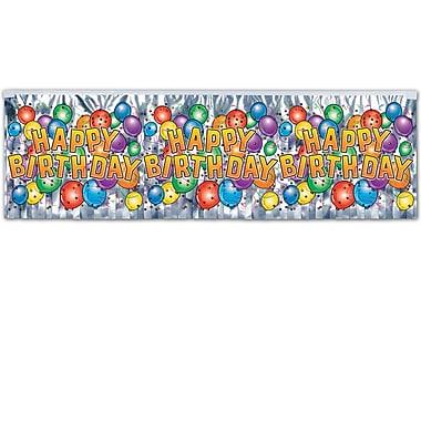 Flame Resistant Met Birthday Balloon Fringe Banner, 14