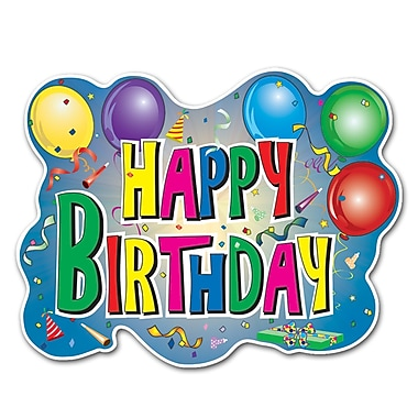 Happy Birthday Sign With Printed Balloons, 12