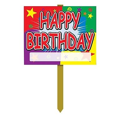 Affiche de jardin « Happy Birthday » avec espace vide remplissable, 12 x 15 po, 4/paquet