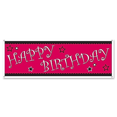 Cerise & Black Happy Birthday Sign Banner, 5' x 21