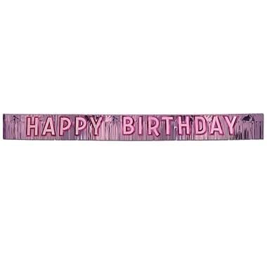 Pink Metallic Happy Birthday Banner, 10