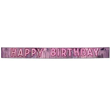 Bannière rose métallique « Happy Birthday », 10 po x 9 pi, 1/paquet