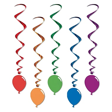 Tourbillons multicolores avec icône de ballon, 3 pi 3 po, 15/paquet