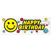 Affiche bannière d'anniversaire smiley, 5 pi x 21 po, 3/paquet