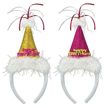 Glittered Birthday Cone Hat Headbands, 2/Pack