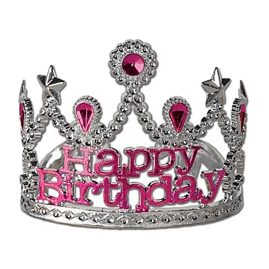 Plastic Happy Birthday Tiara, 4/Pack