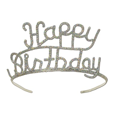 Glittered Metal Happy Birthday Tiara, 1/Pack