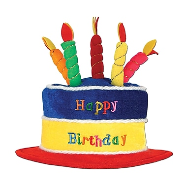 Plush Birthday Cake Hat, 2/Pack