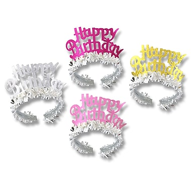 Happy Birthday Tiaras With Fringe, 15/Pack