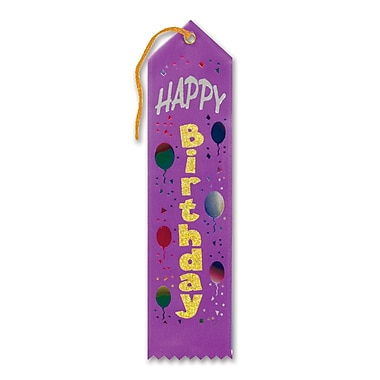 Biestle 2in. x 8in. Happy Birthday Award Ribbon, Purple, 9/Pack