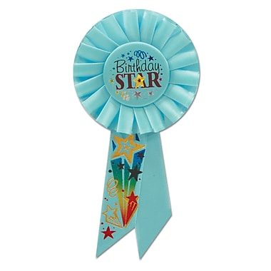 Rosette « Birthday Star », 3 1/4 x 6 1/2 po, 3/paquet