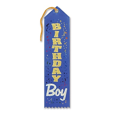 Birthday Boy Award Ribbon With Silver Glitter, 2