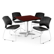 OFM 36 Square Flip-Top Mahogany Table With 4 Chairs, Black