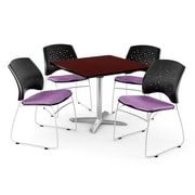 OFM 42 Square Flip-Top Mahogany Table With 4 Chairs, Plum