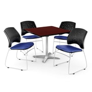 "OFM 36"" Square Flip-Top Mahogany Table With 4 Chairs, Royal Blue"