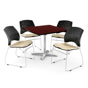 OFM 42 Square Flip-Top Mahogany Table With 4 Chairs, Khaki