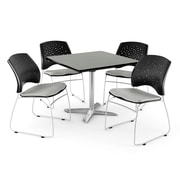 OFM 36 Square Flip-Top Gray Nebula Table With 4 Chairs, Putty