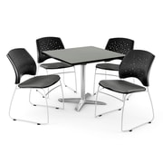 OFM 42 Square Flip-Top Gray Nebula Table With 4 Chairs, Gray
