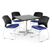 "OFM 36"" Square Flip-Top Gray Nebula Table With 4 Chairs, Royal Blue"
