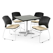 """OFM 36"""" Square Flip-Top Gray Nebula Table With 4 Chairs, Khaki"""