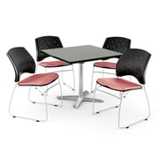 """OFM 36"""" Square Flip-Top Gray Nebula Table With 4 Chairs, Coral Pink"""